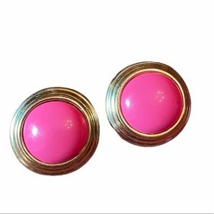 Vintage 80's Gold And Pink Clip On Earrings